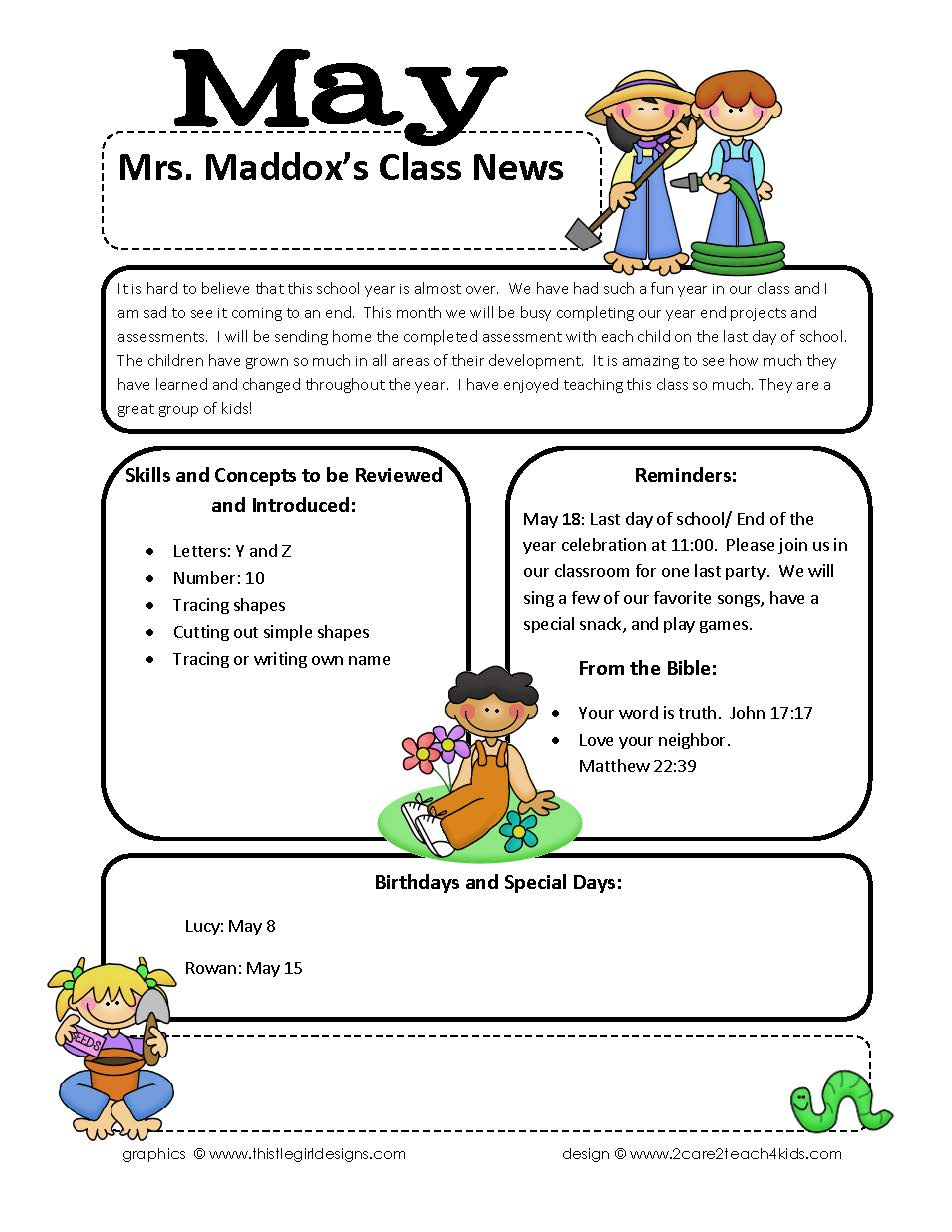 May newsletter maddox
